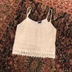 Top shop boho ivory crochet lace camisole